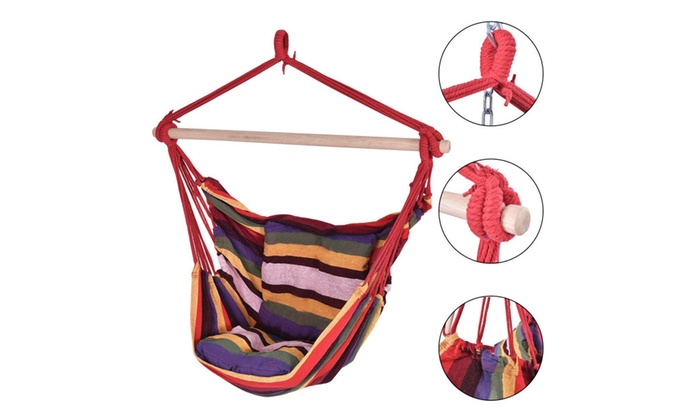Hammock Hanging Rope Chair Porch Swing Seat Patio Camping Portable ...