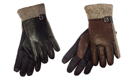 Fleece Lined Leather Gloves with Rubber Grip (2-Pack) 9fac2fa9-f68e-43b0-8936-78614b5ca37c