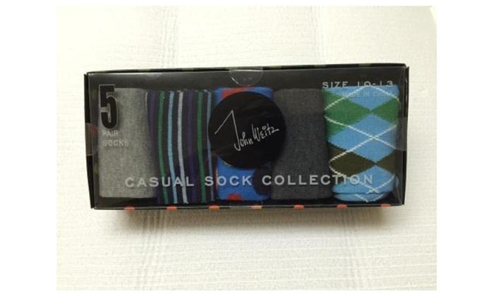 John Weitz Men's Casual Collection Assorted Dress Socks 5/Pack