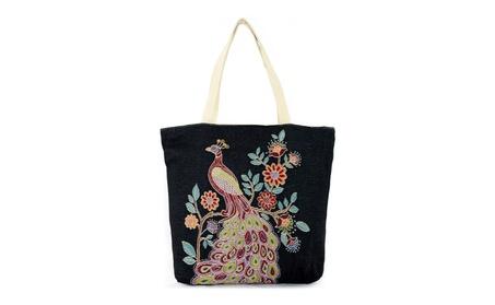 Colorful Floral Peacock Print Large Canvas Shoulder Tote Bag Purse (Goods Women's Fashion Accessories Handbags Totes) photo