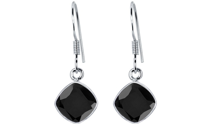 5 00 Carat 925 Silver Sterling Black Onyx Birthstone Earrings