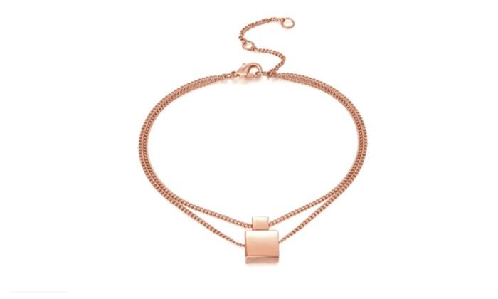 Rose Gold Geometric Squares Anklet Ankle Bracelet