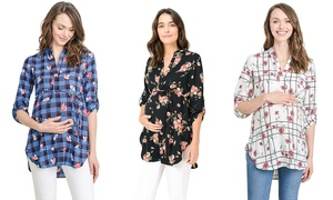 Women's Roll-Up Sleeve Hi-Low Printed Maternity Tunic