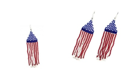 New Handmade Glass Beaded Earrings USA Flag Stuffs d7856e0e-15f0-4523-aa20-8fd44c589dbe