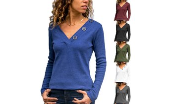 Women's V-neck Button Decoration Shirts Plain Casual Long Sleeve Blouses Tops