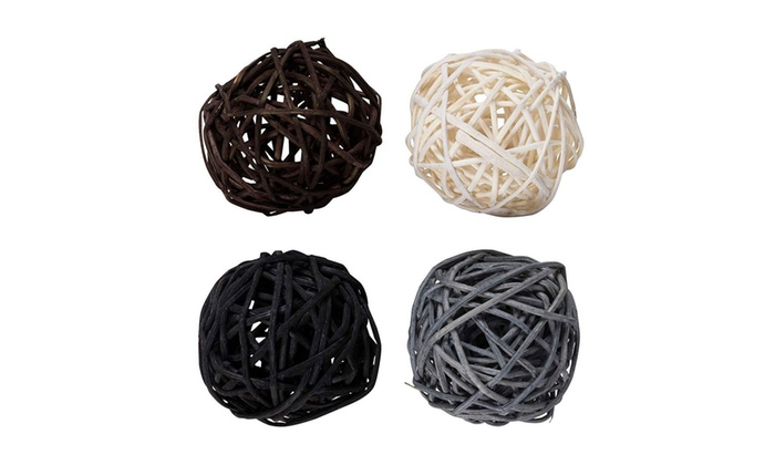 24-Pack Wicker Rattan Balls 45 mm Decorative Orbs Spheres 4 Colors Assorted