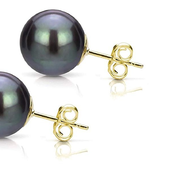 Mystic Black Cultured Freshwater Pearl Stud Earrings in 14k White or Yellow Gold