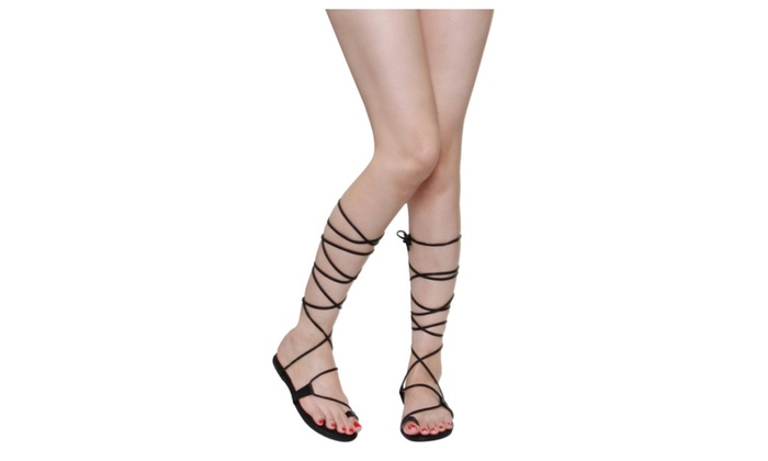 Beston EA87 Women Under Knee High Wrap Roman Gladiator Lace Up Sandals
