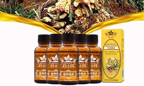5 Pcs Ginger Massage Oil SPA Massage Oil Lymphatic Drainage Ginger Essential Oil