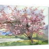 Tree with Spring Flowers Floral Metal Wall Art 28x12