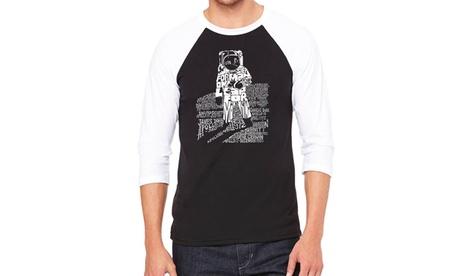 LA Pop Art Men's Raglan Baseball Word Art T-Shirt - ASTRONAUT 5fd3ffa0-5a3b-480d-be3c-b6d1aeb51b1f