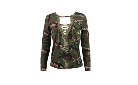Women Camouflage V Neck Lace Up Halter Top 1614ba0b-75e3-435c-9be8-fd260ee10e28