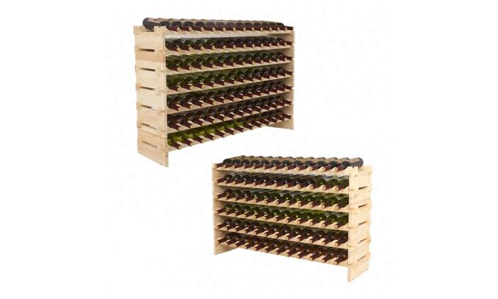 Holder Wine Rack Stackable Storage Solid Wood Shelves