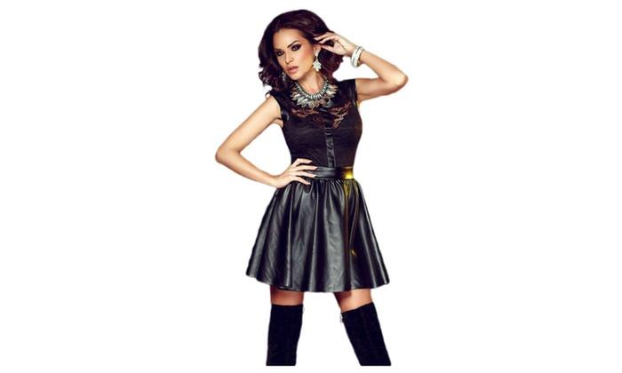 Women's Black Lace Splice Sleeveless Leather Skater Dress
