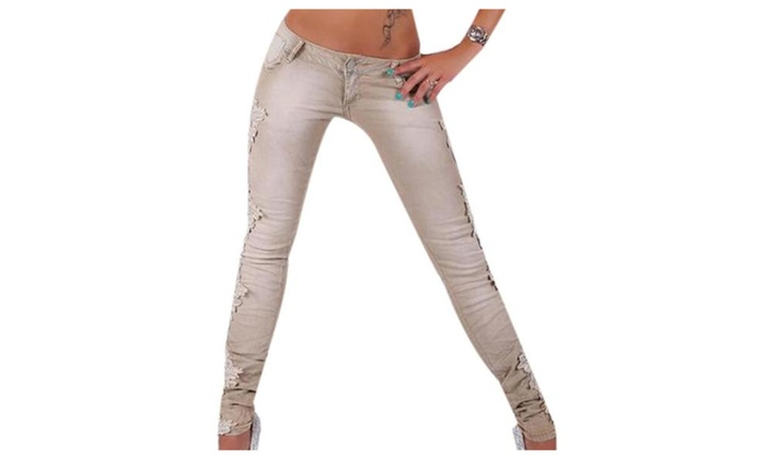 Women's Stylish Mid Rise Casual Slim Fit Ripped Jeans