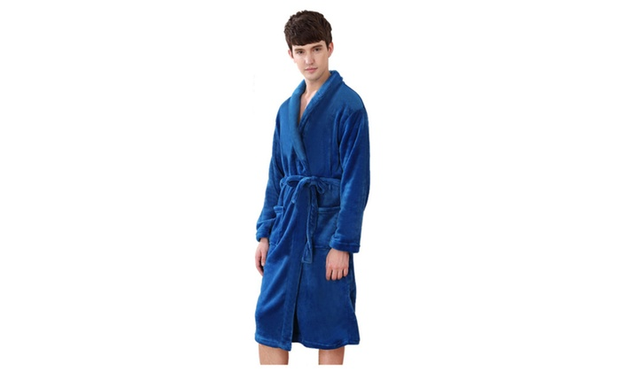 Men's Solid Shawl Collar Long Sleeve Flannel Spa Robe