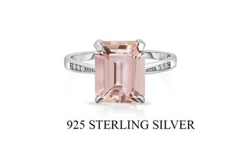 4.00 CTTW Morganite Emerald Cut Ring In Sterling Silver