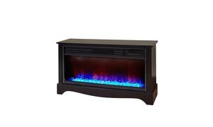 "LifeSmart 36"" 5,100-BTU Wood Infrared Quartz Electric Media Fireplace"