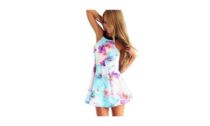 Flora Print Halter Neck Fit and Flare Dress Mini Dress