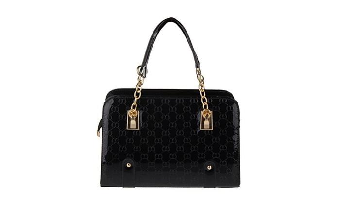 Fashion Road Women PU Leather Padlock Handbag Tote Shoulder Bag - Black / One Size