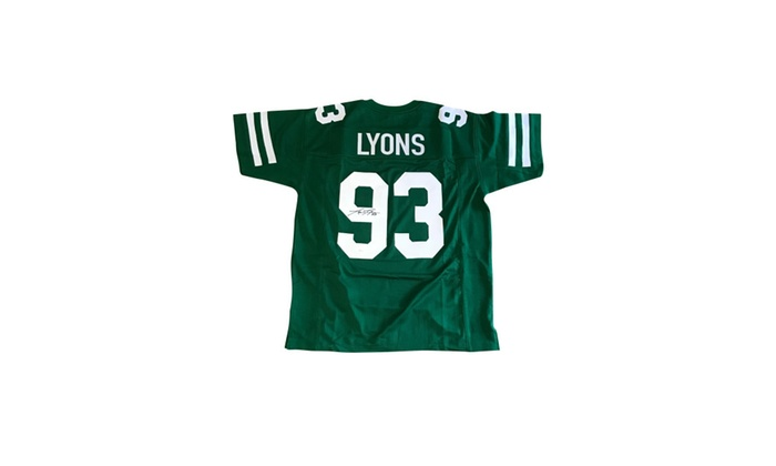 size 40 f274b dd285 Autographed Marty Lyons New York Jets Custom Jersey Green FHS139