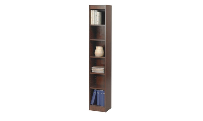 safco 12 inch wide veneer baby bookcase with 6 shelf walnut groupon. Black Bedroom Furniture Sets. Home Design Ideas