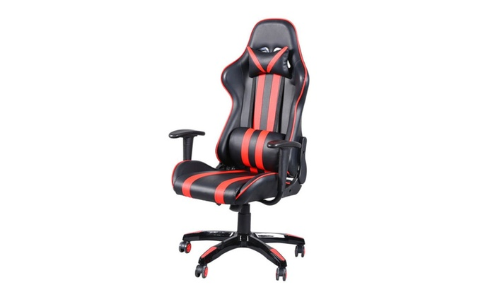 PU Leather High Back Swivel Chair Racing Gaming Chair Black ...