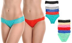 Angelina Women's Cotton Bikini Panties with Lace Detail (6-Pack)