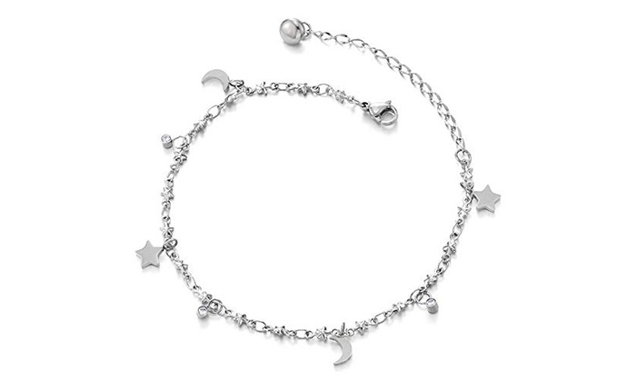 25a4c64e8 COOLSTEELANDBEYOND Anklet Bracelet in Stainless Steel with Dangling Charms
