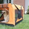Versatile Pet Soft Crate with Fleece Mat - Orange - Small