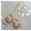 Dangle Gold Plated Multicolored Rhinestone Crystal Bow Earring