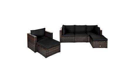Costway 6PCS Patio Rattan Furniture Set Cushion Sofa Coffee Table Ottoman