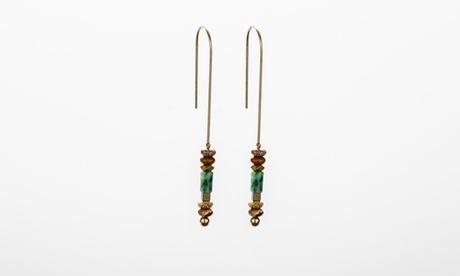 Brown and Green Beaded Long Dangle Earrings