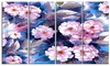 White Briar in Classical Style Floral Metal Wall Art 48x28 4 Panels