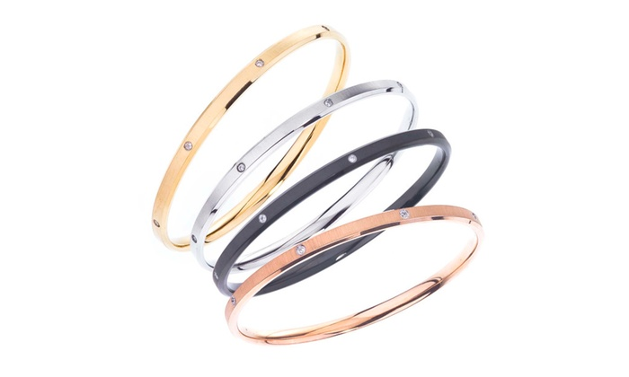 Ax Jewelry: Slim Stack Bangles in Textured Satin Finish with Cystals