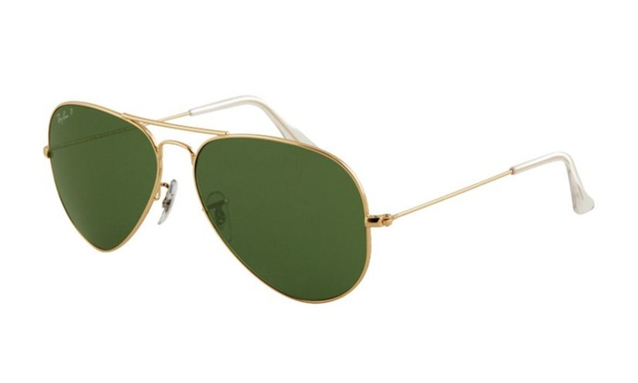 Ray-Ban Gold Aviator Polarized Mens Sunglasses RB3025-001/58-58