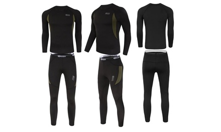 Details about  /Men Winter Thermal Warm Up Fleece Compression Base Layers Shirt Set Sports Suits