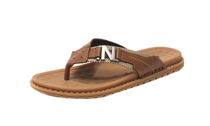 Men's Casual Flip-flops Slippers In Genuine Leather For Summer
