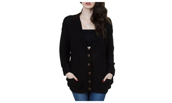 Women's Ladies Long Sleeve Pocket Cable Knit Chunky Cardigan | Groupon