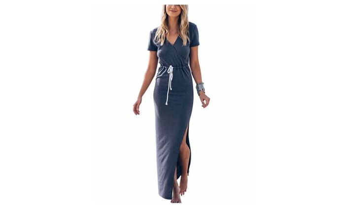 Women's V Neck Casual Beach Club Maxi Dresses Wrap Party Dress