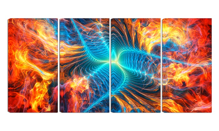 Electric Fire - Large Abstract Wall Art - 48x28 - 4 Panel | Groupon