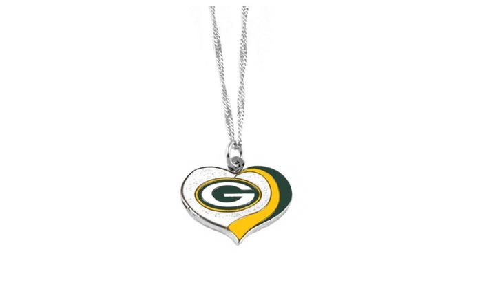 NFL Glitter Heart Necklace
