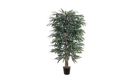 Nearly Natural 5' Weeping Ficus Silk Tree Green 587f4410-cbf0-4bdf-8f90-c9b575e6a8ad