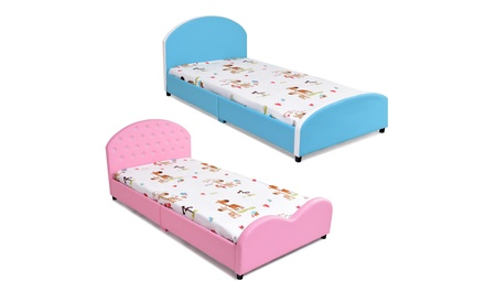 Costway Kids PU Upholstered Platform Wooden Princess Bed Frame Bedroom