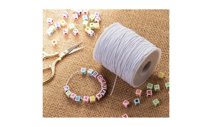 0 7mm White Elastic Cord 200 Yard Stretch Round String Beading