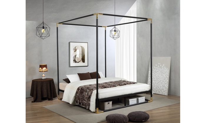 Eva Industrial Metal Canopy Queen Bed ...