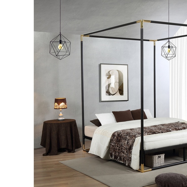 Fine Baxton Studio Eva Industrial Metal Canopy Queen Bed Bralicious Painted Fabric Chair Ideas Braliciousco