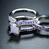 Ultra Violet and White Opal Interlocked Engagement Ring