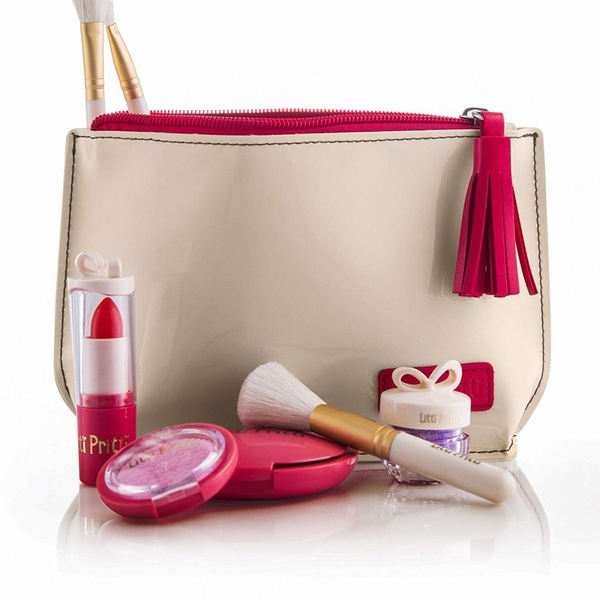60852f8f89c Pretend Makeup Set - 8 Piece Cosmetic Play Makeup Kit - PU Leather Case