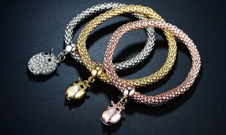 18K Tri-Tone Owl Charm Stretch Popcorn Bracelet Set by Barzel (3-Piece) 400f6da9-3289-4bee-ae57-6bd7d1d5feef